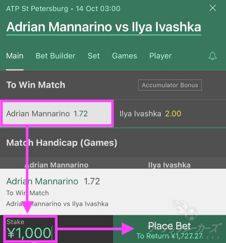 bet365テニスの賭け方