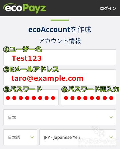 エコペイズ(ecoPayz)登録画面①