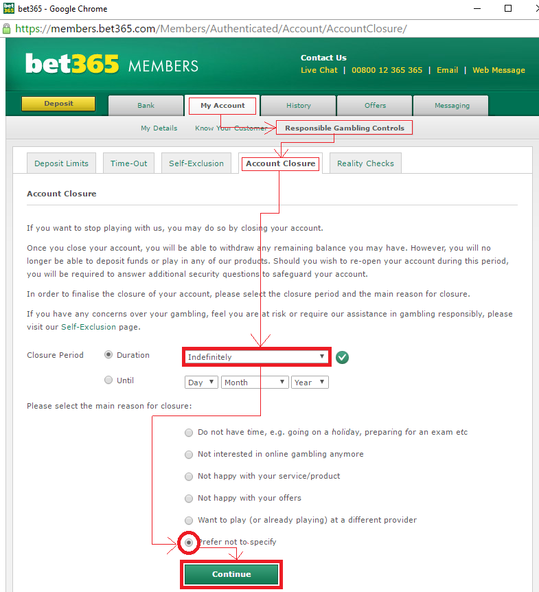 BET365アカウント閉鎖方法