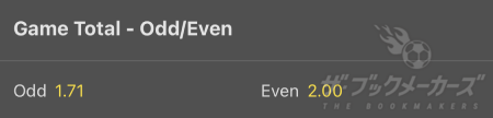 bet365 - Game Total Odd/Even
